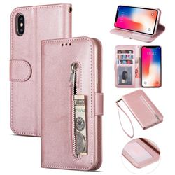Retro Calfskin Zipper Leather Wallet Case Cover for iPhone XS Max (6.5 inch) - Rose Gold