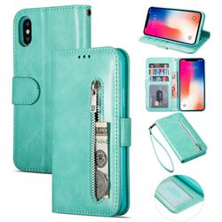 Retro Calfskin Zipper Leather Wallet Case Cover for iPhone XS Max (6.5 inch) - Mint Green