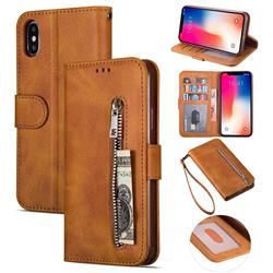 Retro Calfskin Zipper Leather Wallet Case Cover for iPhone XS Max (6.5 inch) - Brown