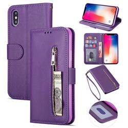 Retro Calfskin Zipper Leather Wallet Case Cover for iPhone XS Max (6.5 inch) - Purple
