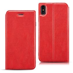 Ultra Slim Retro Simple Magnetic Sucking Leather Flip Cover for iPhone XS Max (6.5 inch) - Red