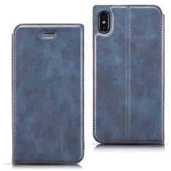 Ultra Slim Retro Simple Magnetic Sucking Leather Flip Cover for iPhone XS Max (6.5 inch) - Blue
