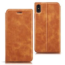 Ultra Slim Retro Simple Magnetic Sucking Leather Flip Cover for iPhone XS Max (6.5 inch) - Brown