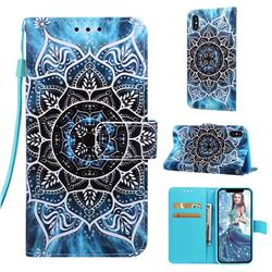 Underwater Mandala Matte Leather Wallet Phone Case for iPhone XS Max (6.5 inch)