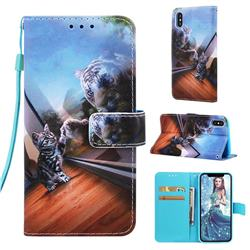 Mirror Cat Matte Leather Wallet Phone Case for iPhone XS Max (6.5 inch)