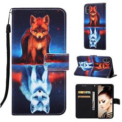 Water Fox Matte Leather Wallet Phone Case for iPhone XS Max (6.5 inch)