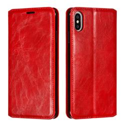 Retro Slim Magnetic Crazy Horse PU Leather Wallet Case for iPhone XS Max (6.5 inch) - Red