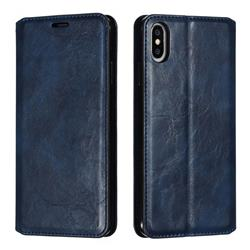 Retro Slim Magnetic Crazy Horse PU Leather Wallet Case for iPhone XS Max (6.5 inch) - Blue