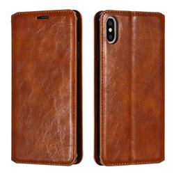Retro Slim Magnetic Crazy Horse PU Leather Wallet Case for iPhone XS Max (6.5 inch) - Brown