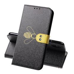 Silk Texture Bee Pattern Leather Phone Case for iPhone XS Max (6.5 inch) - Black