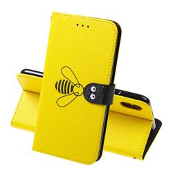 Silk Texture Bee Pattern Leather Phone Case for iPhone XS Max (6.5 inch) - Yellow