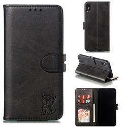 Embossing Happy Cat Leather Wallet Case for iPhone XS Max (6.5 inch) - Black