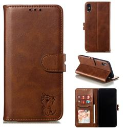 Embossing Happy Cat Leather Wallet Case for iPhone XS Max (6.5 inch) - Brown