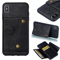 Retro Multifunction Card Slots Stand Leather Coated Phone Back Cover for iPhone XS Max (6.5 inch) - Black