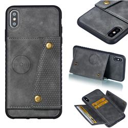 Retro Multifunction Card Slots Stand Leather Coated Phone Back Cover for iPhone XS Max (6.5 inch) - Gray