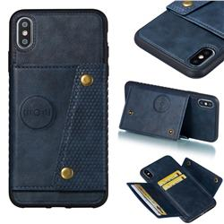 Retro Multifunction Card Slots Stand Leather Coated Phone Back Cover for iPhone XS Max (6.5 inch) - Blue