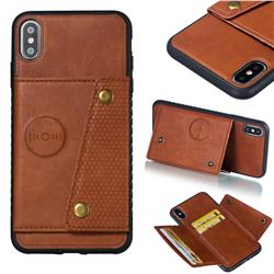 Retro Multifunction Card Slots Stand Leather Coated Phone Back Cover for iPhone XS Max (6.5 inch) - Brown
