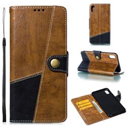 Retro Magnetic Stitching Wallet Flip Cover for iPhone XS Max (6.5 inch) - Brown