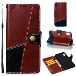 Retro Magnetic Stitching Wallet Flip Cover for iPhone XS Max (6.5 inch) - Dark Red