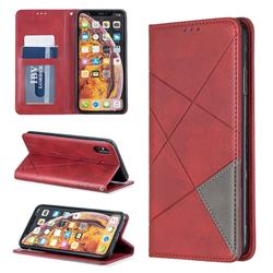 Prismatic Slim Magnetic Sucking Stitching Wallet Flip Cover for iPhone XS Max (6.5 inch) - Red