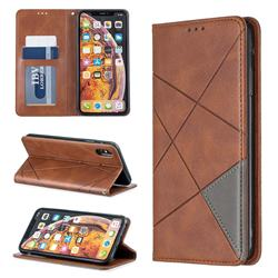 Prismatic Slim Magnetic Sucking Stitching Wallet Flip Cover for iPhone XS Max (6.5 inch) - Brown
