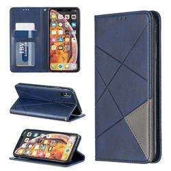 Prismatic Slim Magnetic Sucking Stitching Wallet Flip Cover for iPhone XS Max (6.5 inch) - Blue