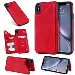 Luxury Tree and Cat Multifunction Magnetic Card Slots Stand Leather Phone Back Cover for iPhone XS Max (6.5 inch) - Red