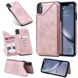 Luxury Tree and Cat Multifunction Magnetic Card Slots Stand Leather Phone Back Cover for iPhone XS Max (6.5 inch) - Rose Gold