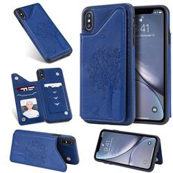 Luxury Tree and Cat Multifunction Magnetic Card Slots Stand Leather Phone Back Cover for iPhone XS Max (6.5 inch) - Blue