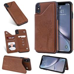 Luxury Tree and Cat Multifunction Magnetic Card Slots Stand Leather Phone Back Cover for iPhone XS Max (6.5 inch) - Brown