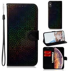 Laser Circle Shining Leather Wallet Phone Case for iPhone XS Max (6.5 inch) - Black