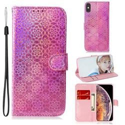 Laser Circle Shining Leather Wallet Phone Case for iPhone XS Max (6.5 inch) - Pink