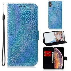 Laser Circle Shining Leather Wallet Phone Case for iPhone XS Max (6.5 inch) - Blue