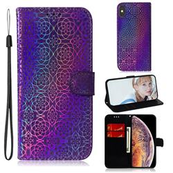 Laser Circle Shining Leather Wallet Phone Case for iPhone XS Max (6.5 inch) - Purple