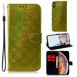 Laser Circle Shining Leather Wallet Phone Case for iPhone XS Max (6.5 inch) - Golden