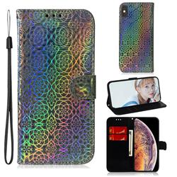 Laser Circle Shining Leather Wallet Phone Case for iPhone XS Max (6.5 inch) - Silver