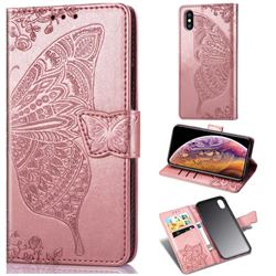 Embossing Mandala Flower Butterfly Leather Wallet Case for iPhone XS Max (6.5 inch) - Rose Gold