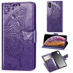 Embossing Mandala Flower Butterfly Leather Wallet Case for iPhone XS Max (6.5 inch) - Dark Purple