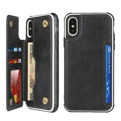 Luxury Multifunction Magnetic Card Slots Stand Leather Phone Case for iPhone XS Max (6.5 inch) - Black