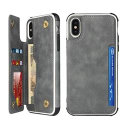 Luxury Multifunction Magnetic Card Slots Stand Leather Phone Case for iPhone XS Max (6.5 inch) - Gray
