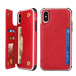 Luxury Multifunction Magnetic Card Slots Stand Leather Phone Case for iPhone XS Max (6.5 inch) - Red