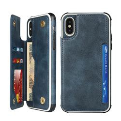 Luxury Multifunction Magnetic Card Slots Stand Leather Phone Case for iPhone XS Max (6.5 inch) - Blue