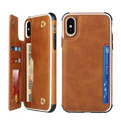 Luxury Multifunction Magnetic Card Slots Stand Leather Phone Case for iPhone XS Max (6.5 inch) - Brown