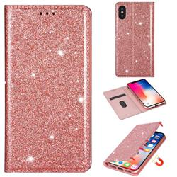 Ultra Slim Glitter Powder Magnetic Automatic Suction Leather Wallet Case for iPhone XS Max (6.5 inch) - Rose Gold