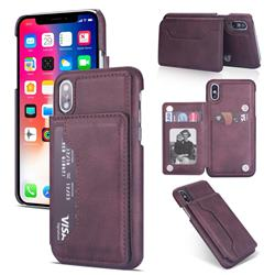 Luxury Magnetic Double Buckle Leather Phone Case for iPhone XS Max (6.5 inch) - Purple