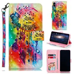 Flower Wind Chimes 3D Painted Leather Phone Wallet Case for iPhone XS Max (6.5 inch)