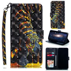 Tiger Totem 3D Painted Leather Phone Wallet Case for iPhone XS Max (6.5 inch)