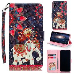 Phoenix Elephant 3D Painted Leather Phone Wallet Case for iPhone XS Max (6.5 inch)