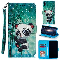 Cute Panda 3D Painted Leather Phone Wallet Case for iPhone XS Max (6.5 inch)