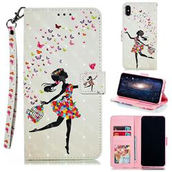 Flower Girl 3D Painted Leather Phone Wallet Case for iPhone XS Max (6.5 inch)